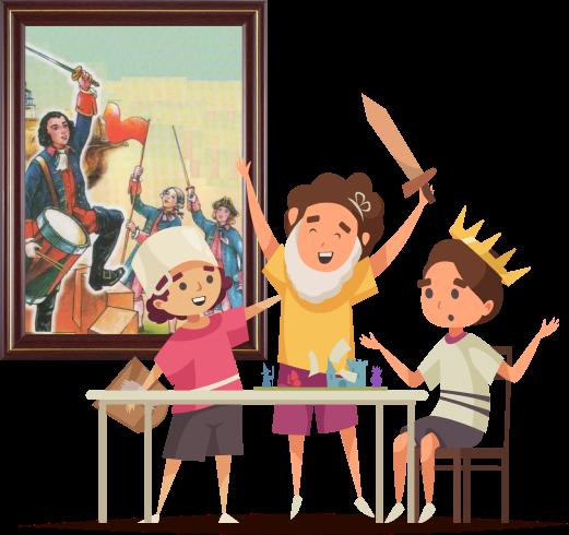 За столом сидят трое детей, которые играют в настольную игру с замками и фигурками солдатиков. Двое мальчиков слева подняли руки в победном жесте, а тот, что слева разводит руки в недоумении. У мальчика слева кастрюля на голове и самодельный щит на правой руке, мальчик по центру в накладной седой бороде и с деревянным мечом в левой руке, мальчик справа с короне золотого цвета.